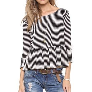 We The Free In A Line Peplum Tee Striped Crop